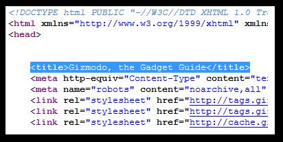 Image of Gizmodo Meta Title Tag