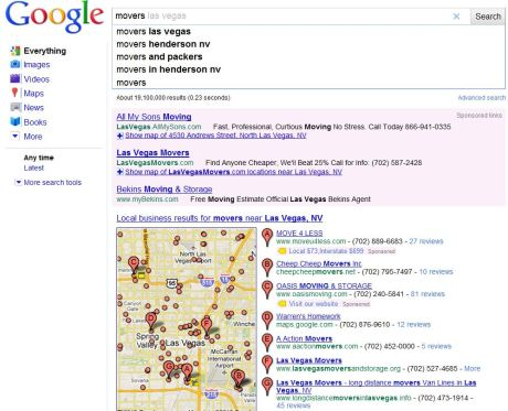 Screenshot of Instant Search Results